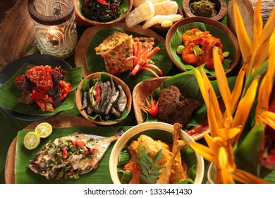 Minang Rijsttafel. Assorted of traditional Minang dishes served in upscale style.