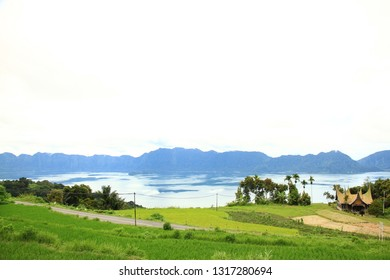 Minang traditional house on the lake side maninjau