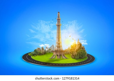 Minar e Pakistan. Celebration Card. Creative a beautiful background for Independence Day. Pakistan day background. Illustration - Vector