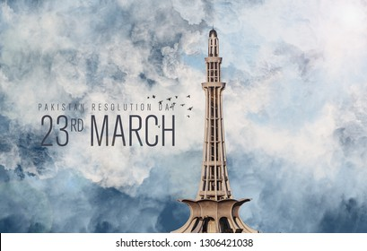 Minar e Pakistan with cloudy background artwork with Pakistan Resolution Day typography