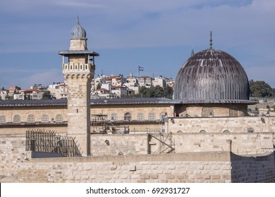 Minaret and dome of the mosque of Al-Aqsa, on the temple mount of the city of Jerusalem, Israel