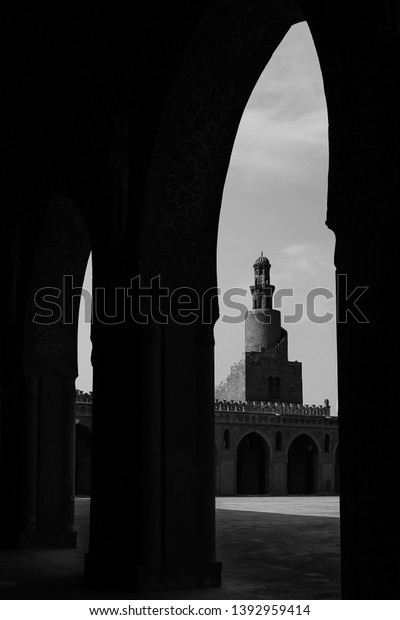 Minaret of the famous and historic Ibn Tulun mosque B/W