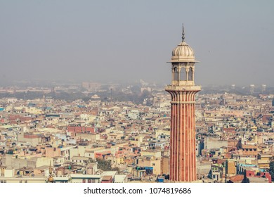 minaret of Jama Masjid, New Delhi, India. View of Old Delhi from Jama Masjid minaret on 11 Feb, 2008. An overly-built and populated capital has its affects on air pollution, especially during summer.