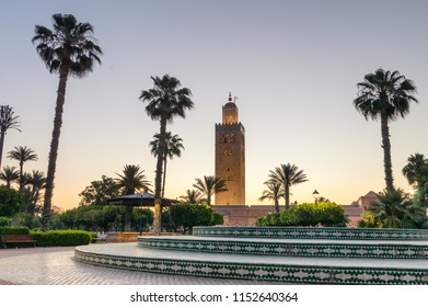 Minaret of Koutoubia Mosque in the morning in Marrakech, Morocco. View of Minaret from Parc Lalla Hasna.