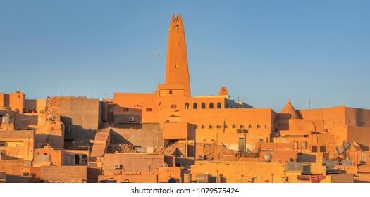 Minaret and medieval hilltop city Ghardaia in the M'Zab valley, Algeria