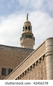 Minaret of the Mosque of Omar. The Mosque of Omar was built in 1860 to commemorate the Caliph Umar's visit to Bethlehem upon its capture by the Muslims