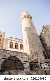 Minaret of Muhammad Mosque in Old city, Icheri Sheher is the historical core of Baku. Baku, Azerbaijan - September 20, 2017