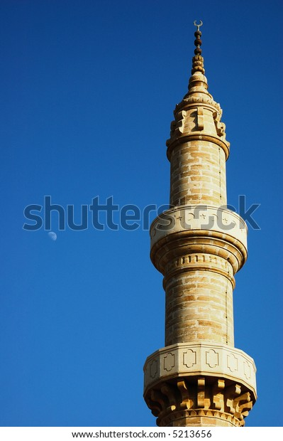 The minaret of the old mosque of Rhodes, Greece, Europe.