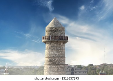 Minaret of renovated Abdiaziz Mosque in Mogadishu, Somalia