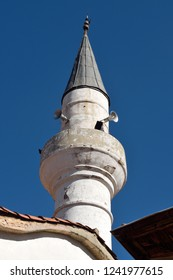 Minaret of Seyh cami mosque in Mugla city, Turkey, added to the mosque complex in the 19th century.