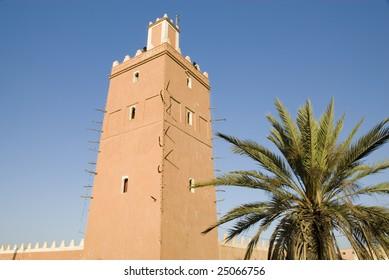 Minaret of the Sidi Ali Ou Sa'd mosque in Tiznit Morocco