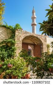 Minaret of Suleiman mosque in medieval City of Rhodes (Rhodes, Greece)