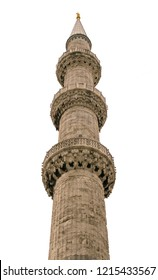 Minaret of Sultanahmet mosque (Blue Mosque, Sultanahmet Camii). Istanbul, Turkey.  Isoleted on white background