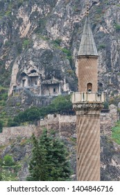A minaret and Tomb of Kings in Amasya- Amasya, Turkey