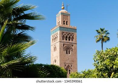 Minaret Tower of Kasbah Mosque in Marrakesh. Marrakesh, Marrakesh-Safi, Morocco