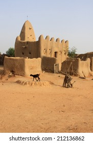 Minaret of a traditional mosque made of mud in Mali, West Africa