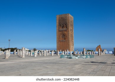 Minaret and the unfinished tower of the mosque Hassan. Rabat. Morocco.