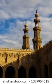 Minarets and Arches of a mosque in Egypt, Sunset over Cairo's mosque
