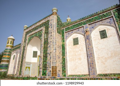 Minarets and facade at the Mausoleum of Apak Khoja and Tomb of the Fragrant Concubine in Kashgar, or Kashi, Xinjiang, China.
