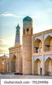 Minarets and madrassa in Khiva old town, Uzbekistan