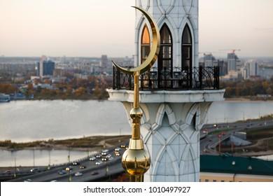 Minarets of the mosque at sunset. Kazan. Republic of Tatarstan Russian Federation