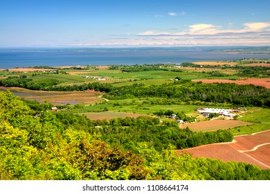 The Minas Basin and the Annapolis Valley as viewed fromt the Look Off on the North Mountain of Kings County, Nova Scotia