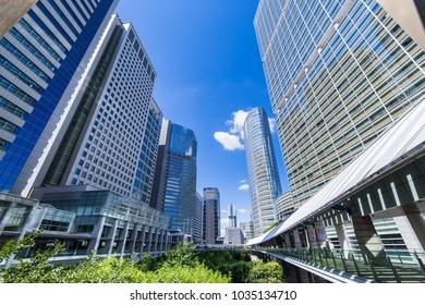 "MINATO, TOKYO / JAPAN - AUGUST 7 2016 : ""Shinagawa Inter City"" office building street of Shinagawa, Minato-ku, Tokyo. Each building is connected by a pedestrian deck."