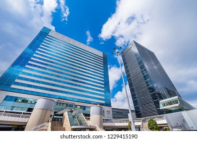 MINATO, TOKYO / JAPAN - OCTOBER 28 2018 : Scenery of JR Shinagawa station east exit (Konan exit). It is a business area where high-rise buildings stand side by side.