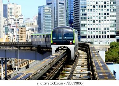 Minato, Tokyo, Japan - September 21, 2017: Tokyo Monorail Haneda Airport Line: The Tokyo Monorail Haneda Airport Line, is a monorail system connecting Haneda Airport  to Hamamatsucho in Minato, Tokyo.