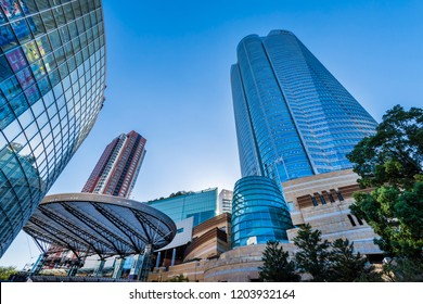 "MINATO, TOKYO / JAPAN - SEPTEMBER 28 2018 : Scenery of ""Roppongi Hills"". Round shaped skyscrapers are landmarks. There are offices, commercial facilities, hotels, residences, TV stations and museums."