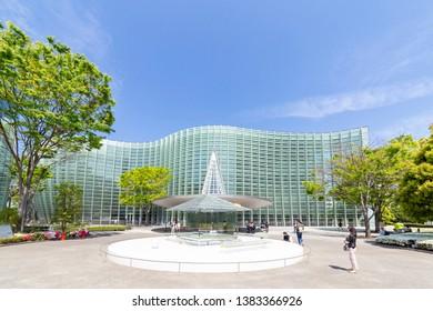 Minato, Tokyo, Japan-April 20, 2019: The National Art Center, Tokyo: The National Art Center is a museum in Roppongi, Minato, Tokyo, Japan. The building has been designed by Kisho Kurokawa.