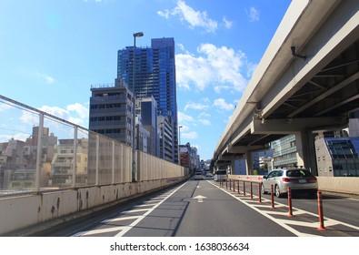 Minato-ku Tokyo, Japan- November 04 2019: Tokyo Metropolitan Expressway with cityscape