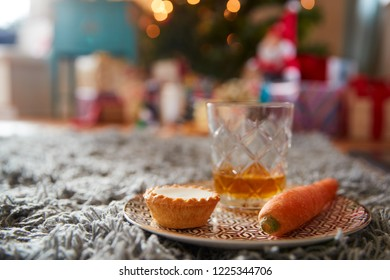 Mince Pie With Carrot And Glass Of Whiskey Left Out For Santa On Christmas Eve