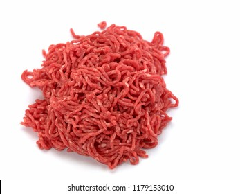 Minced beef in front of white background