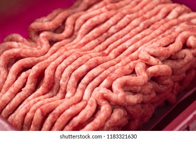 Minced beef, Minced meat texture close up - top view minced meat raw fresh macro.