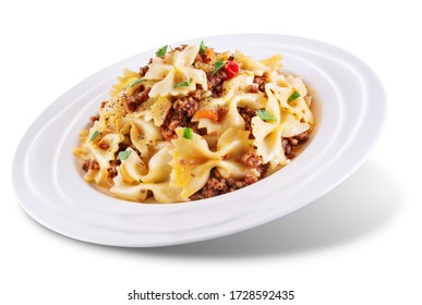Minced beef tomato sauce pasta on a white isolated background. toning. selective focus