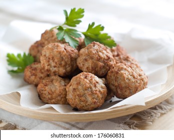 Minced meat ball in bowl, selective focus