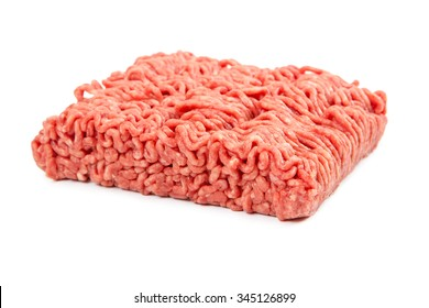 Minced meat from beef isolated on white background