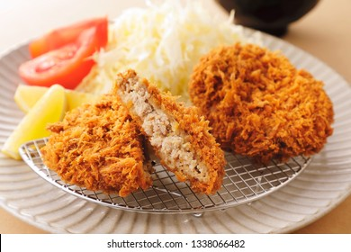 Minced meat cutlets. Japanese food.