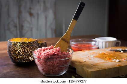 Minced meat on table