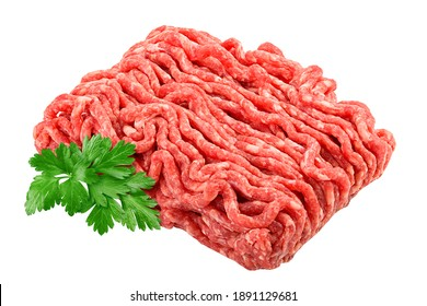 minced meat, pork, beef, forcemeat, clipping path, isolated on white background, full depth of field