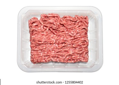 Minced meat in a transparent plastic container.
