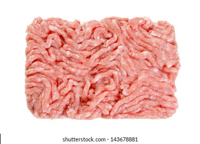 Minced pork isolated on white with clipping path