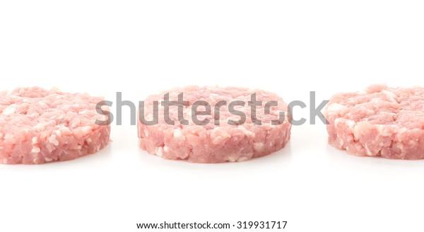 minced pork on white background
