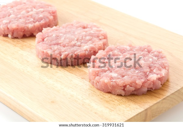 minced pork on wood board