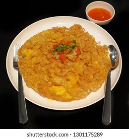 Minced Shrimp and Carot Omelet Rice Food Meal With Chilli Ketchup