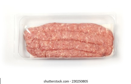 minced turkey meat on a white background