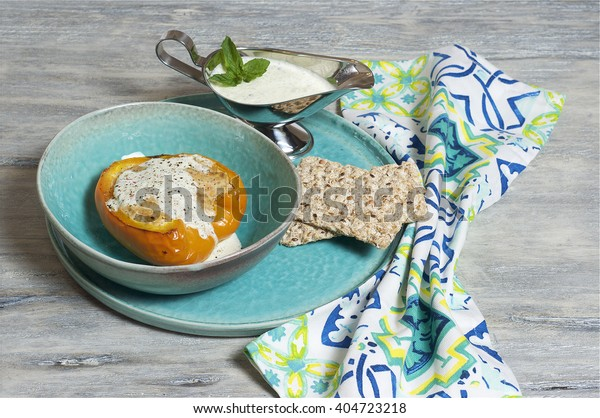 Minced turkey - stuffed paprika with mint and yogurt sauce