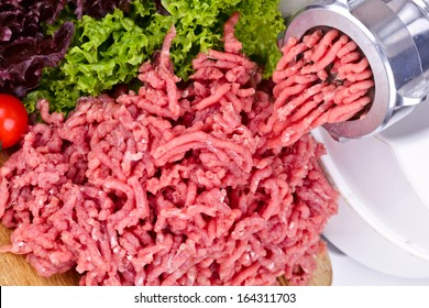 Mincer with fresh chopped meat