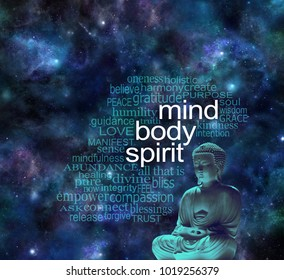 Mind Body Spirit Buddha Word Cloud - Buddha in meditative lotus position next to the words MIND BODY SPIRIT surrounded by a relevant word cloud  against a dark starry night sky background